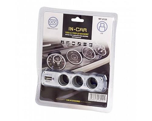 Разветвитель прикуривателя 3 гнезда c USB 12/24V (WF-0120)