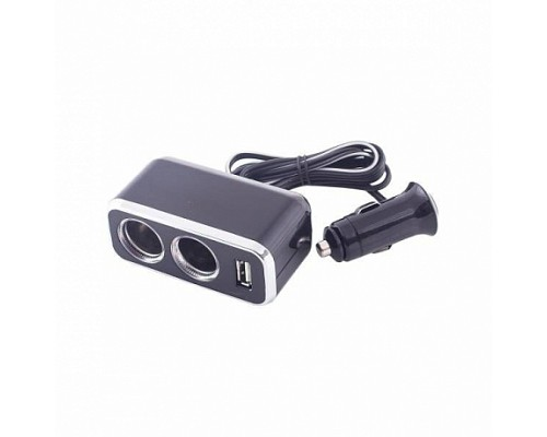 Разветвитель прикуривателя 2 гнезда + USB  SKYWAY Черный, предохранитель 10А, USB 500mA