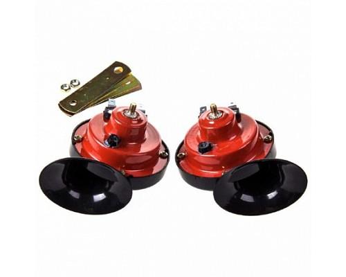 Сигнал звуковой УЛИТКА SKYWAY 015 d=90мм 12V 105dB сталь/пластик Красный/Черный 2 шт