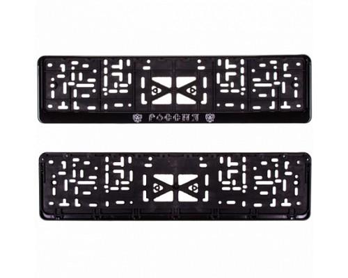 Рамка для номера пластм с защелкой черная РОССИЯ (рельеф серебро) SKYWAY с гербом 1шт