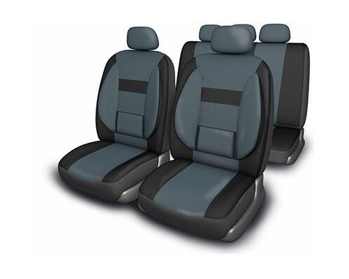 Чехлы сиденья SKYWAY Protect Plus- 1 полиэстер 11 предм. черно/темно-серый
