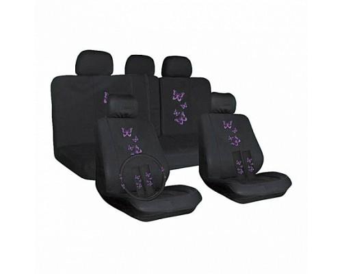 Чехлы сиденья SKYWAY STRIKE-1 полиэстер 14 предм. черно/фиолетовый