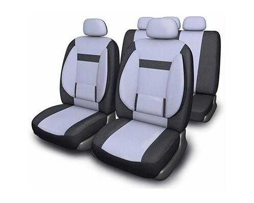 Чехлы сиденья SKYWAY Protect Plus- 1 велюр 11 предм. черно/серый