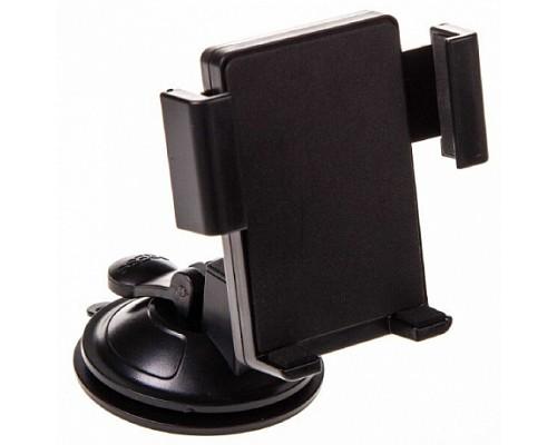 Держатель телефона на лобовое стекло и панель на присоске SKYWAY короткая жесткая ножка Черный 1/100
