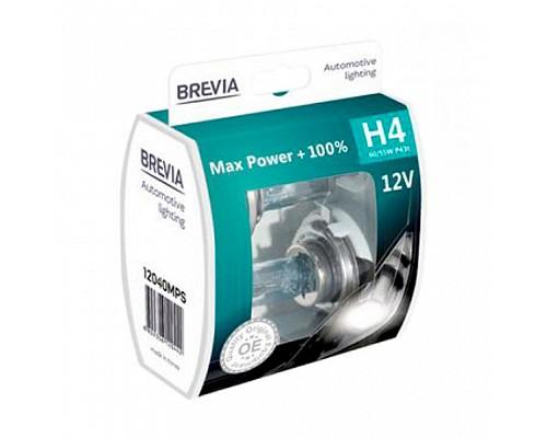 Автолампа BREVIA 12V H4 60/55W P43t Max Power +100% S2 (box 2шт) 12040MPS BOX