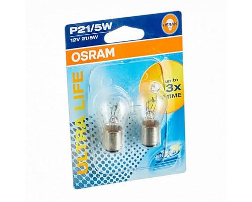 Автолампа OSRAM P21/5W 7528ULT-02B (BAY15d) ULTRA LIFE(блистер,2шт) 12V OSRAM /1/10