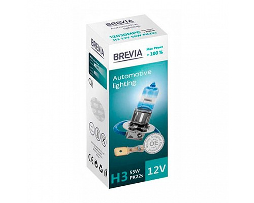 Автолампа BREVIA 12V H1 55W P14.5s Max Power+100% CP (карт.1шт) 12010MPC