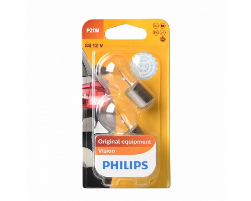 Автолампа PHILIPS P21W 12498B2 (BA15s) 12V /10/200 HIT 2шт/1бл