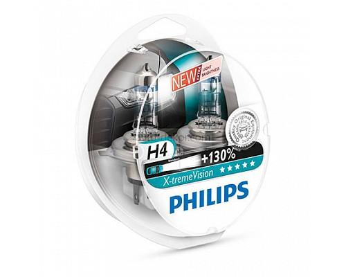 Автолампа PHILIPS H4 (60/55) 12342XVP2 P43t-38 +130% X-TREME VISION PLUS (2шт) 12V