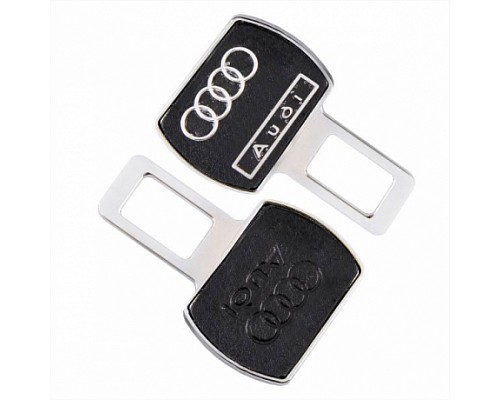 Заглушка-блокировка замка ремня безопасности SW Черный/хром 90*55мм 2шт Audi