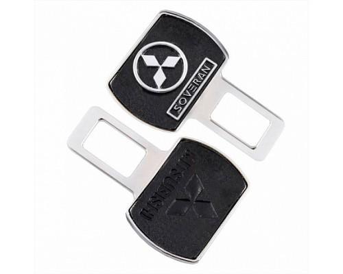 Заглушка-блокировка замка ремня безопасности SW Черный/хром 90*55мм 2шт Mitsubishi