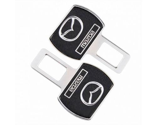 Заглушка-блокировка замка ремня безопасности SW Черный/хром 90*55мм 2шт Mazda