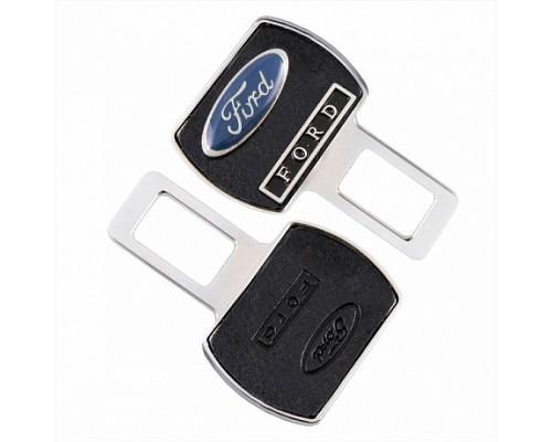 Заглушка-блокировка замка ремня безопасности SW Черный/хром 90*55мм 2шт Ford