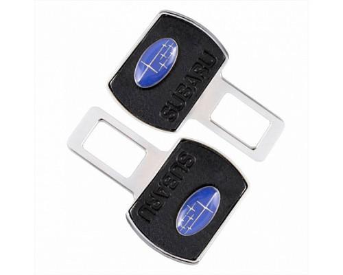 Заглушка-блокировка замка ремня безопасности SW Черный/хром 90*55мм 2шт Subaru