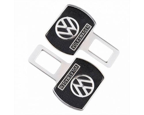 Заглушка-блокировка замка ремня безопасности SW Черный/хром 90*55мм 2шт Volkswagen