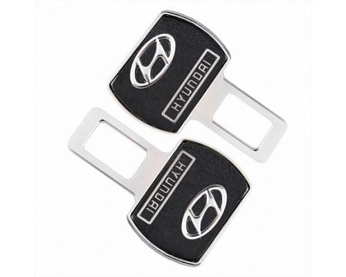 Заглушка-блокировка замка ремня безопасности SW Черный/хром 90*55мм 2шт Hyundai